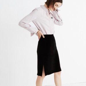 Madewell Black Velvet Pencil Skirt Size 14